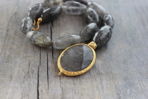 Grey agate asymmetric necklace FREE SHIPPING