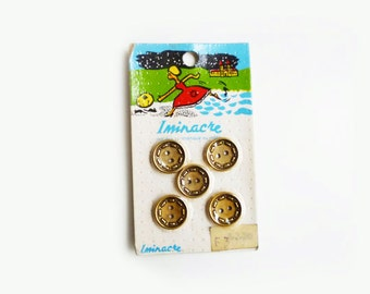 5 Gold Antique Buttons, French Vintage Buttons Card