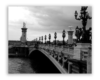 """Paris Photography, Paris photos, Paris decor, Bridges of Paris, Seine River - """"Pont Alexander"""" - Black and White Fine Art Photograph"""