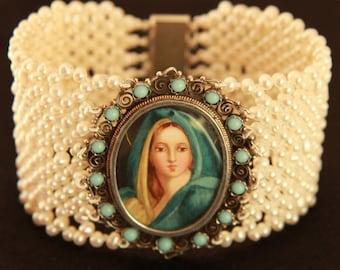 Hand Woven Virgin Mary Portrait Pearl & Turquoise Bracelet