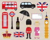 London clip art, London clipart, crown clip art images, British clip art for commercial use- Instant Download