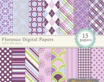 Floral digital scrapbook paper 12x12, royalty free digital paper, commercial use- Instant Download
