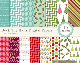 Deck the Halls Christmas digital paper, christmas digital scrapbooking paper 12x12, royalty free paper- Instant Download