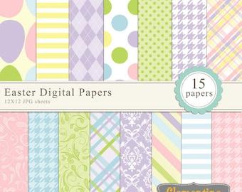 Easter digital paper 12x12, digital scrapbooking paper, royalty free- Instant Download