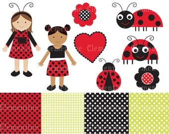 Ladybug clip art images,  ladybug clipart, ladybug vector, royalty free clip art- Instant Download