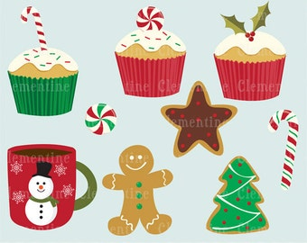 Christmas Treats clip art images,  Christmas clipart, Christmas vector, royalty free clip art- Instant Download