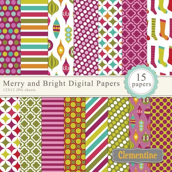 Merry and Bright Christmas digital paper 12x12, digital scrapbooking paper,  royalty free- Instant Download