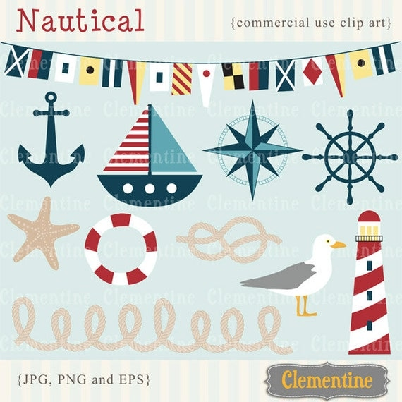 Nautical clip art images, nautical clipart, nautical vector, royalty free clip art- Instant Download