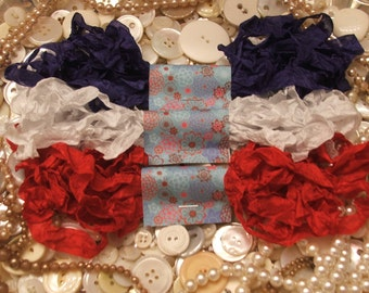 Gorgeous Crinkled Seam Binding Ribbon - Fourth of July Bundle - Red White Blue Rustic, Shabby Chic, Beach, Cottage, French Country, Wedding