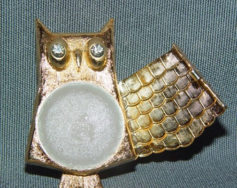 SALE-Vintage Owl Pin Brooch- Retro Avon Collectible- Perfume Holder