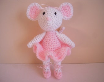 Crocheted Stuffed Ballerina Mouse with Moveable Arms and Legs