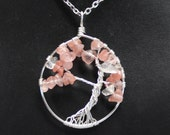 Pink Glass Chip Tree Of Life Neck