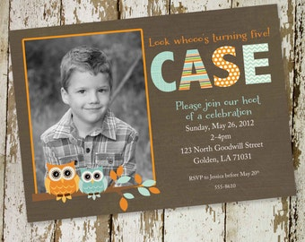 owl baby shower invitation owl first birthday birth announcement photo sip and see sprinkle ultrasound (item 241b) shabby chic invitations