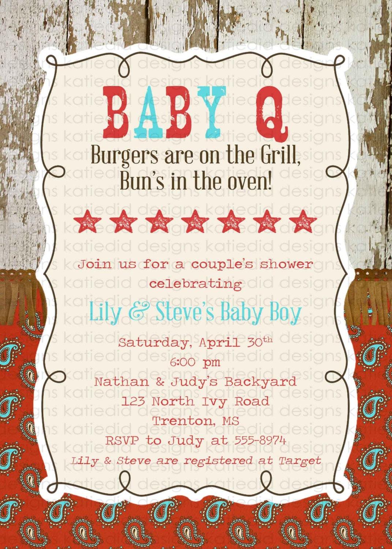 baby q invitation baby boy shower gender reveal western gingham