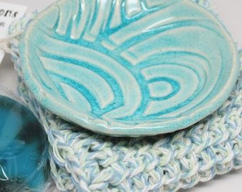 Round Soap Dish with a Crocheted Wash Cloth and Handmade Soap Gift Set
