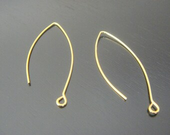 Gold Plated Ear Wire linear Hooks fishhooks Earring Findings,  5 pairs, B16325