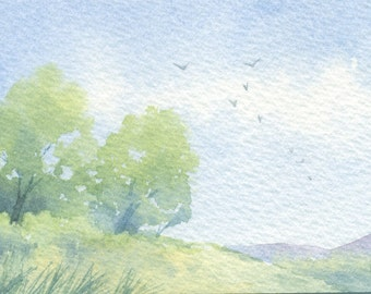 Original watercolor ACEO painting - Summer hills