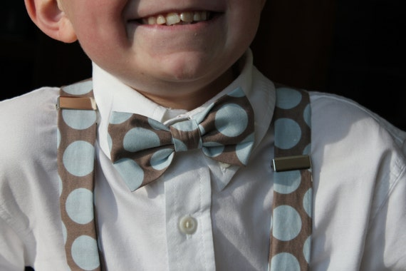 Bow tie and Suspenders in Gray and Blue Retro Dot  - clip on - for men or boys