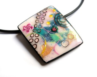 colorful necklace, pendant, Green gold pink , multi-layering - multicolored Statement necklace - polymer clay pendant - Wearable art - OOAK