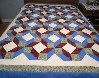 Bachelor's Puzzle Quilt Top, 60 x 73, green, Ivory, Burgundy, Blue