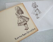 Alice in Wonderland Stationary Set... Set of 6.  Personalization Available