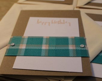 Green and Tan Plaid Birthday Cards - Set of 6