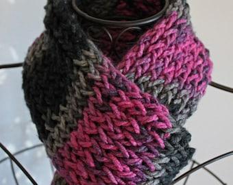 Slate Gray & Pink Chunky Scarf