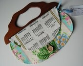 1987 Calendar Girl Vintage Towel Purse with wooden handle