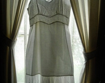 White Cotton Sundress Slip Eyelets Lace Full Ruffle Privacy Panel Fit Rite Size 36