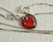 Red Heart Pendant Cubic Zirconia Facet Heart Pendant Sterling Silver Jewelry Valentines Day Gift