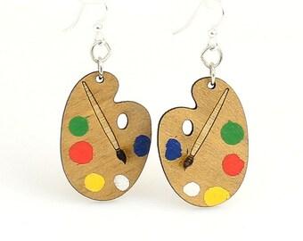 Painters Palette - Wood Earrings