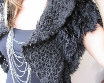 Black eyelash shrug - faux fur bolero - bridal shrug wedding gown- vest - shoulder  warm knitting - crochet cover up