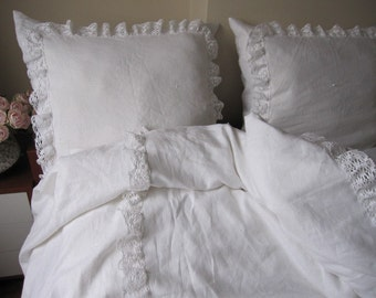 White linen KING ruffled bedspread bobbin lace trim with euro shams - coverlet summer blanket-shabby chic bedding