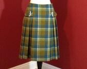 Vintage 50s Wool Skirt Pleated Plaid Denmark Buckles Medium