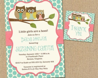 Owl Baby Shower Invitations - DIY Printable Baby Girl Shower Invitations - FREE Favor Tags Included