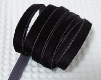 3 Yards Charcoal Grey Velvet Ribbon 3/8 inch - 31