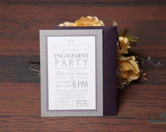 PRINTED Engagement Party, Couple shower, Set of 25, White linen