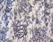 "Vintage French Unused Blue Toile De Jouy 18th Century Style Grand Teint Meuble - Sold in uncut 3 yard lengths 50"" Wide"