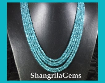 5 Line AAA Apatite necklace strung on a serapha