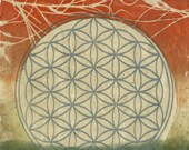Flower of Life at Sunset, ooak gelatin monoprint on handmade paper