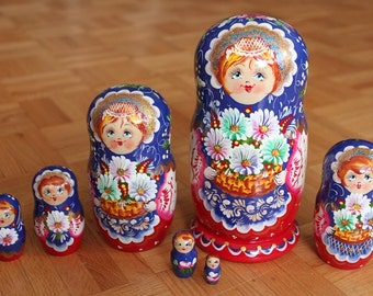 Harvest Nesting dolls matryoshka russian babushka stacking dolls set of 7