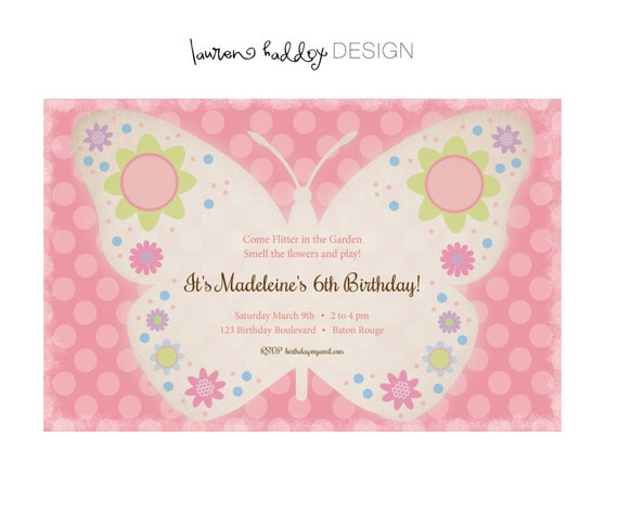 Items similar to DIY Butterfly Garden Party INVITATION on Etsy – Butterfly Party Invitation