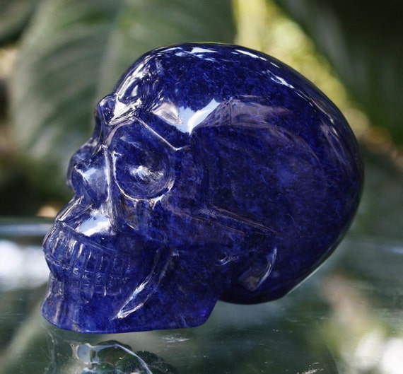 "DREAMING 2.7"" Blue Smelted Quartz Carved Realistic Crystal Skull 7.41 OZ Healing C0296"
