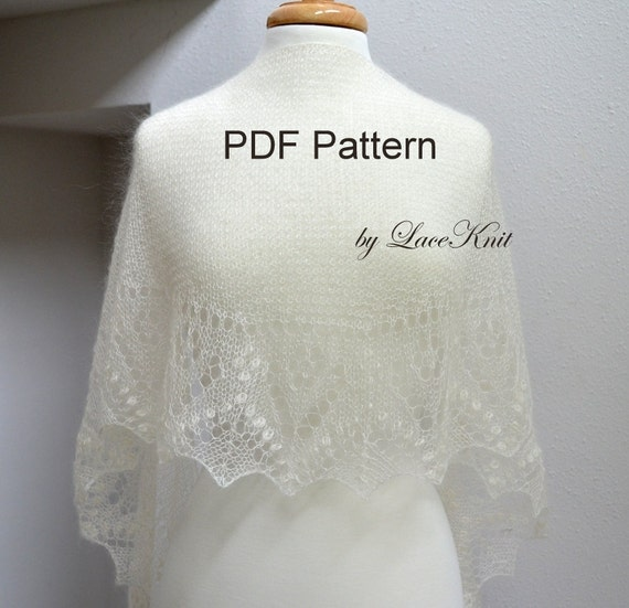 "Design by LaceKnit. Pattern of Shawlette ""Valley of Flowers"". Hand Knitted Lace Shawl, Wrap, Scarf. Original Design.PDF downloadable pattern"