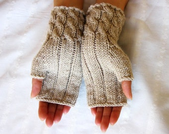 Hand Knit Fingerless Gloves in light beige color, Arm Warmers, for Women