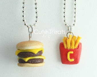 Best Friends Necklaces - Double Cheese Burger and Cute Fries