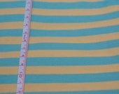 "Aqua & Yellow  3/8"" Cotton Lycra STripe Knit Fabric"