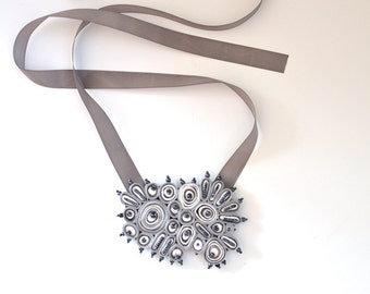 Statement necklace grey, statement necklace, fiber bib necklace - Textile  jewelry OOAK for order