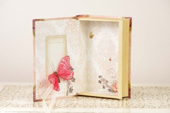 Pink Ring Bearer Book with Butterfly and Flower Details - Live Laugh Love