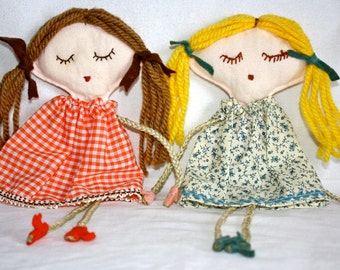 Vintage 1980's Handmade BFF Twin Holly Hobbie Dolls